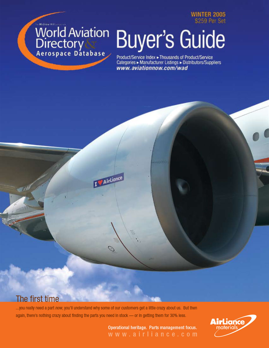 Aircraft Parts Distributor Ad on Directory Cover
