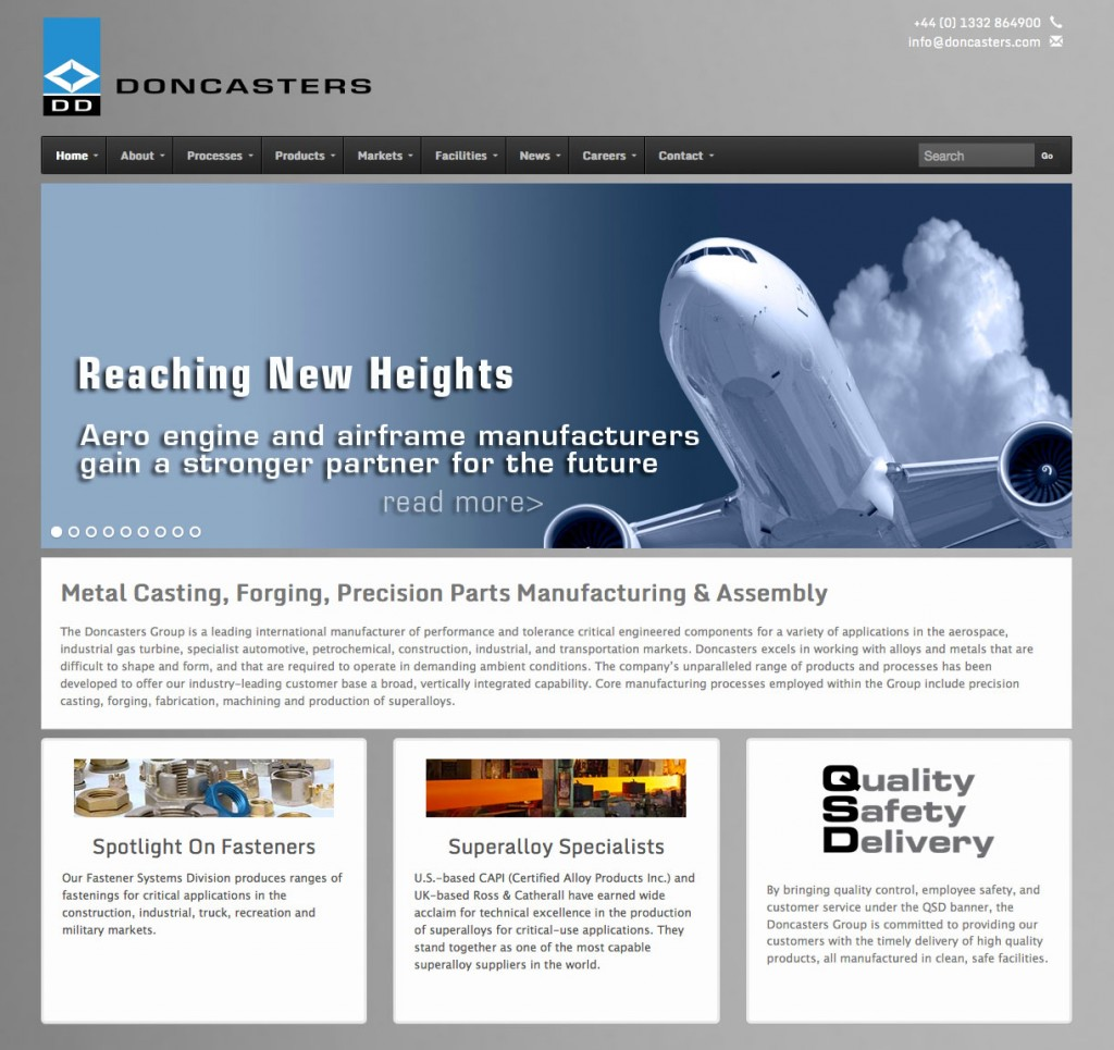 Website Front Page of Aerospace and Industrial Parts Manufacturer